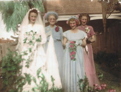 Nana Beatrice with her 3 daughters at aunty Marge's wedding 1949.
