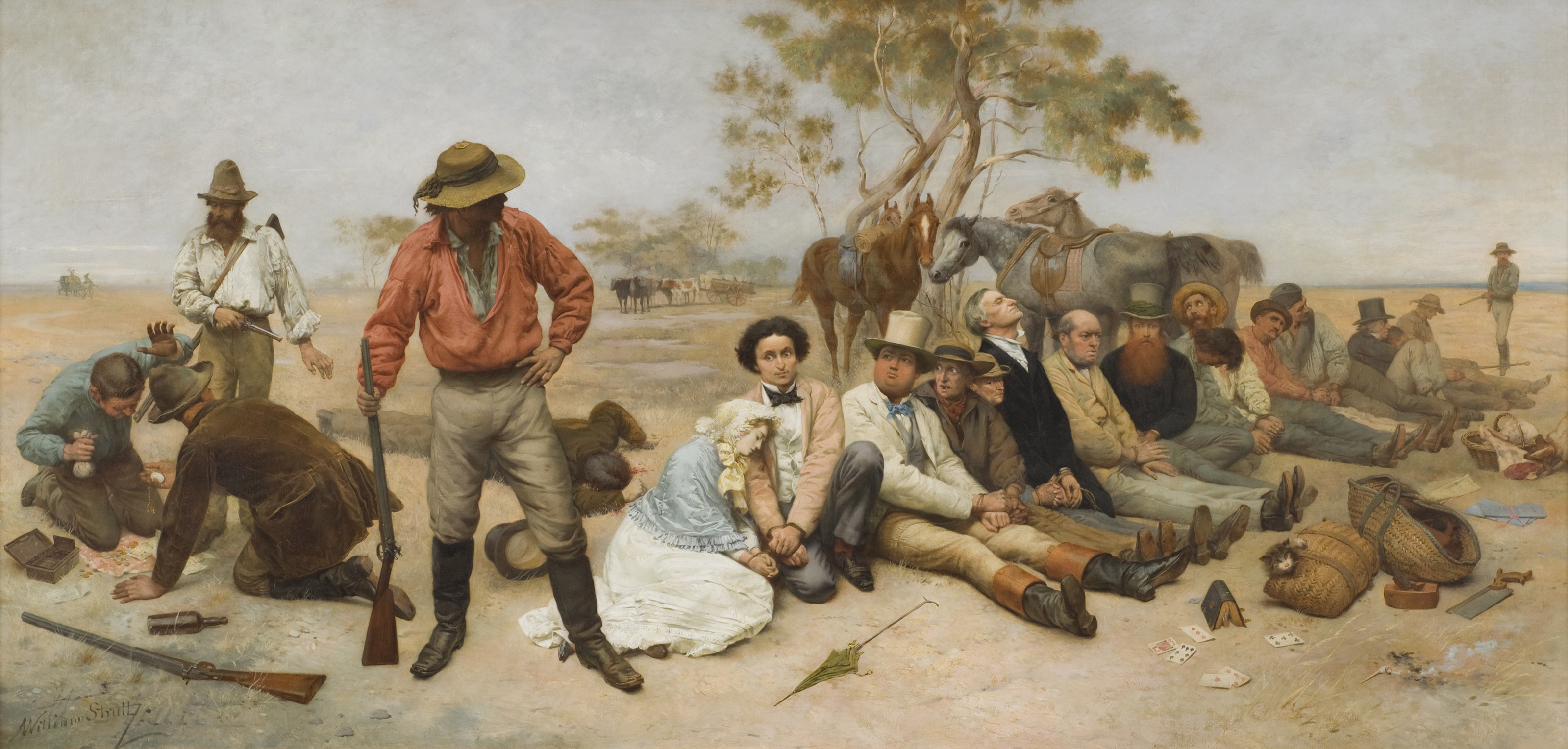 Painting by William Strutt of bushrangers and victims tied up