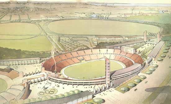 Colour drawing of the proposed stadium