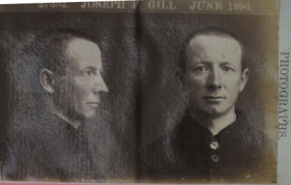 Photograph of Joseph F Gill, June 1896. PROV, VPRS 515/P0 Central Register for Male Prisoners, Unit 50, prisoner number 27352, folio 76.