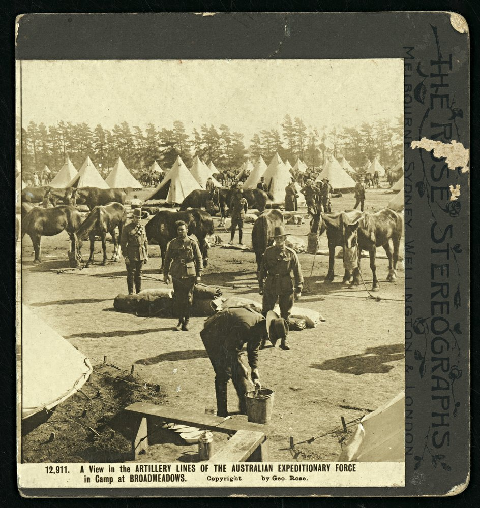 Photograph of artillery lines of the Australian Expeditionary Force in camp at Broadmeadows.