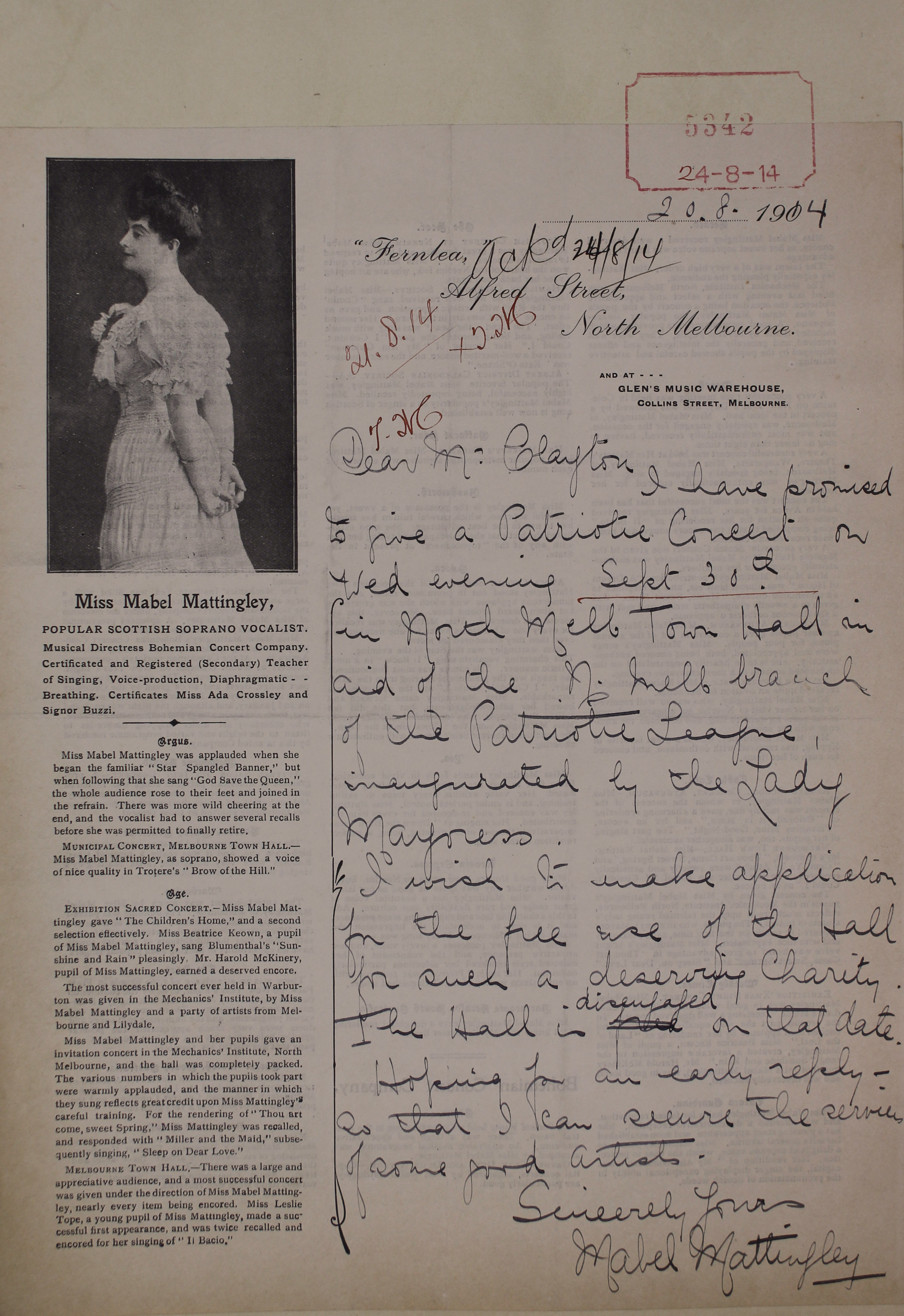 Image of letter regarding a Patriotic Concert featuring Mabel Mattingly.