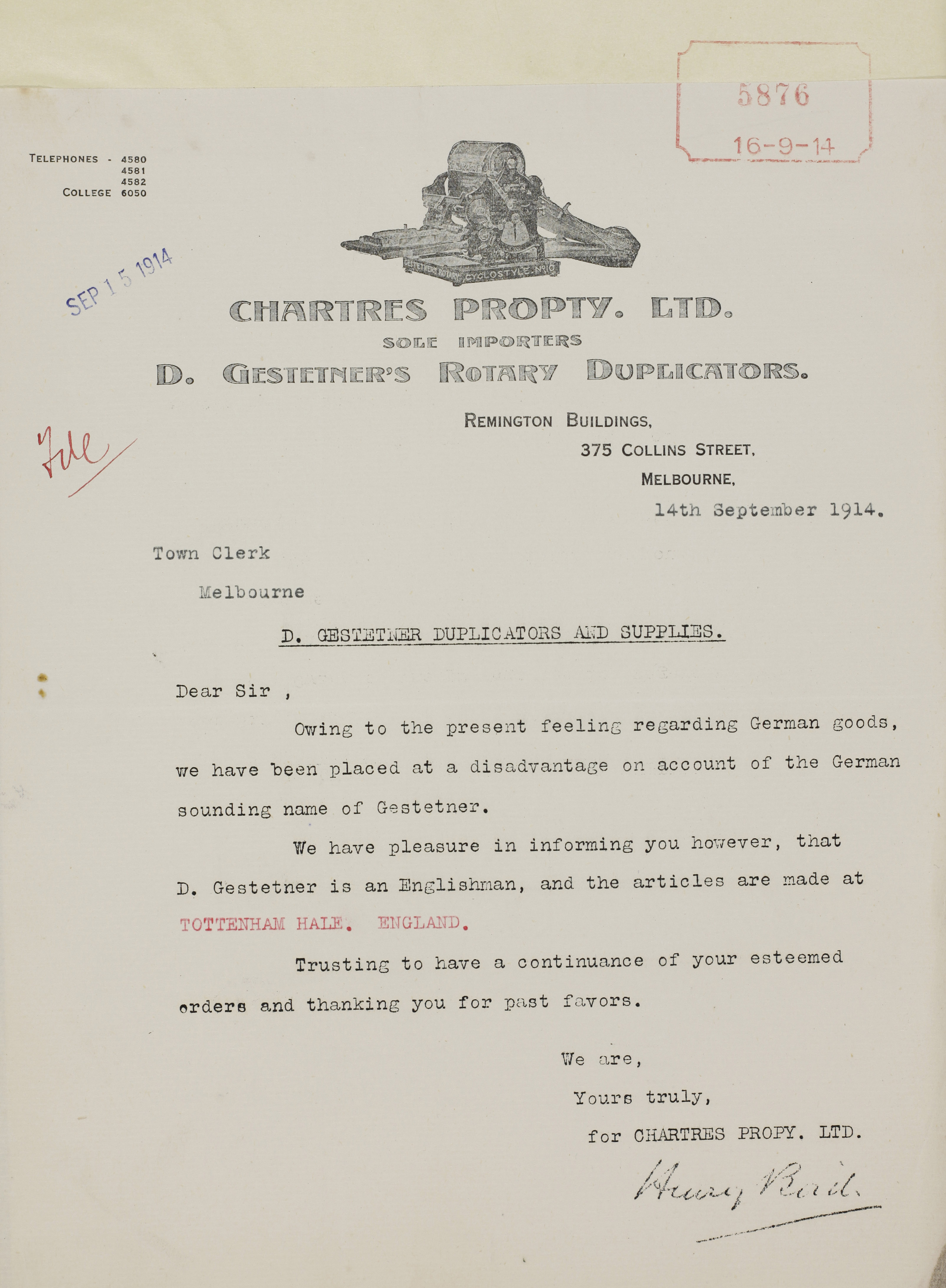Image of letter from Chartres Pty Ltd, 14 September 1914.