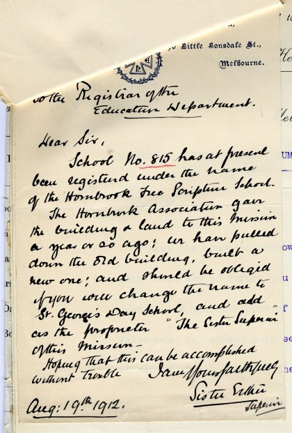 Letter dated 19 August 1912 requesting the Department of Education change the name of school no. 815
