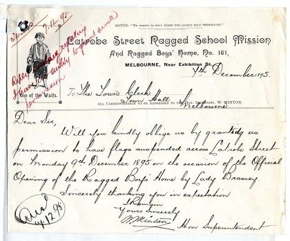 Letter from William Minton, Hon. Superintendent, Latrobe Street Ragged School Mission