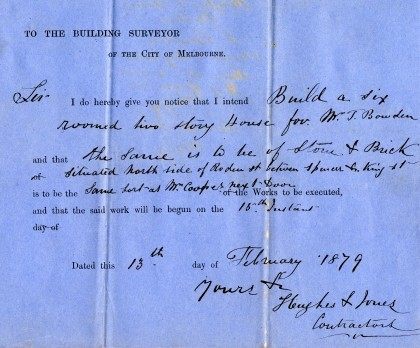 Notice lodged by John Jones and David Hughes on 13 February 1879