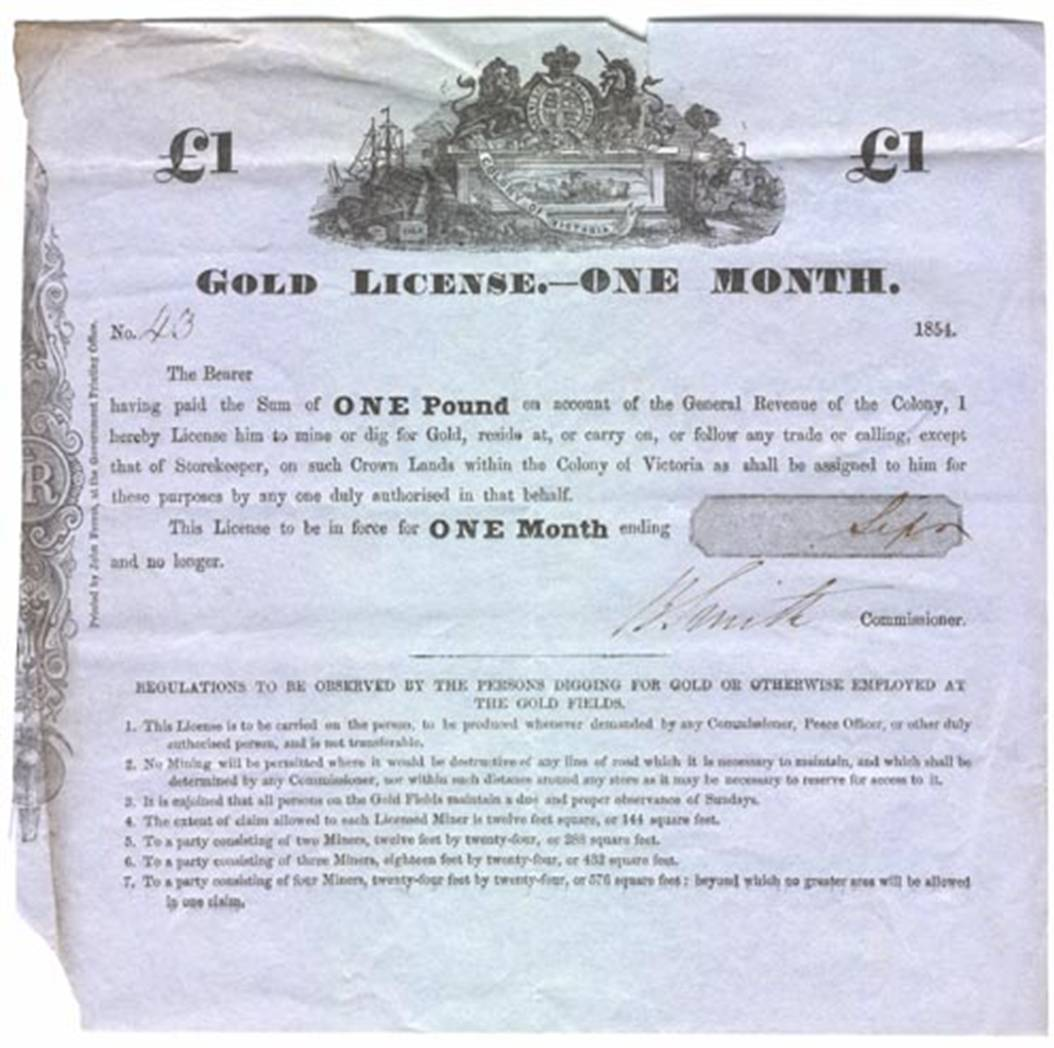 photo of a gold licence