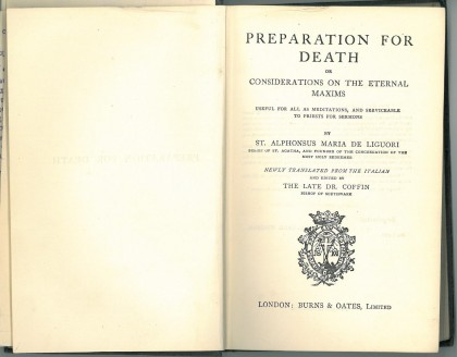 Title page of Preparation for death, or Considerations of the external maxims