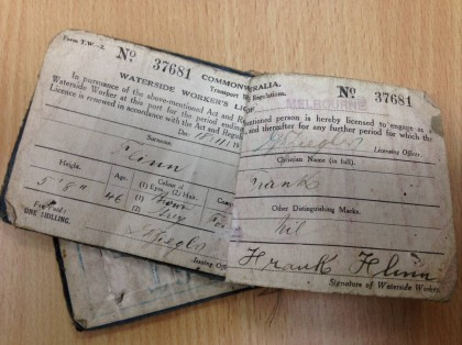 Frank Flinn's Waterside workers licence – Evidence as part of the O'Brien family murder inquest