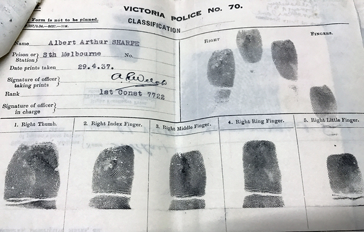 Sharpe's fingerprints