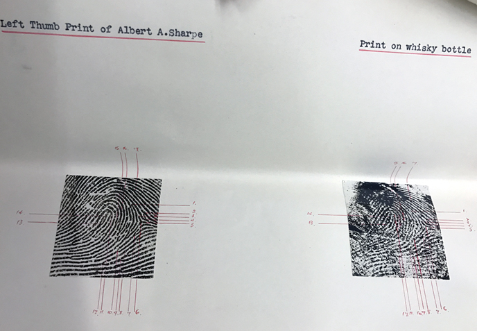 Comparing Sharpe's fingerprints to the ones on the bottle