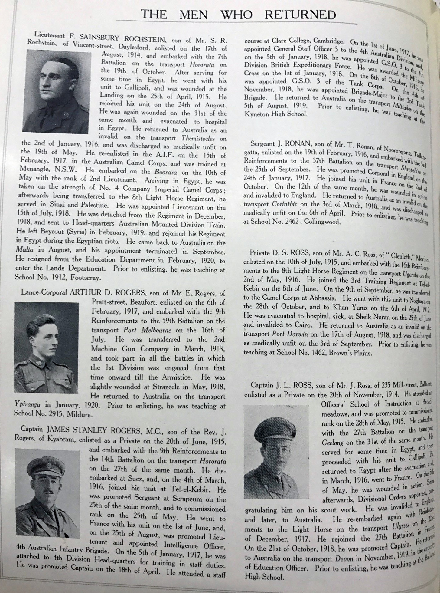 Page featuring bios and portraits