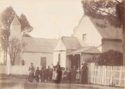 [Group standing in front of Church and State School, Ramahyuck Mission] [picture] a13412. Allan Studio [ca. 1900]. Courtesy of State Library of Victoria.
