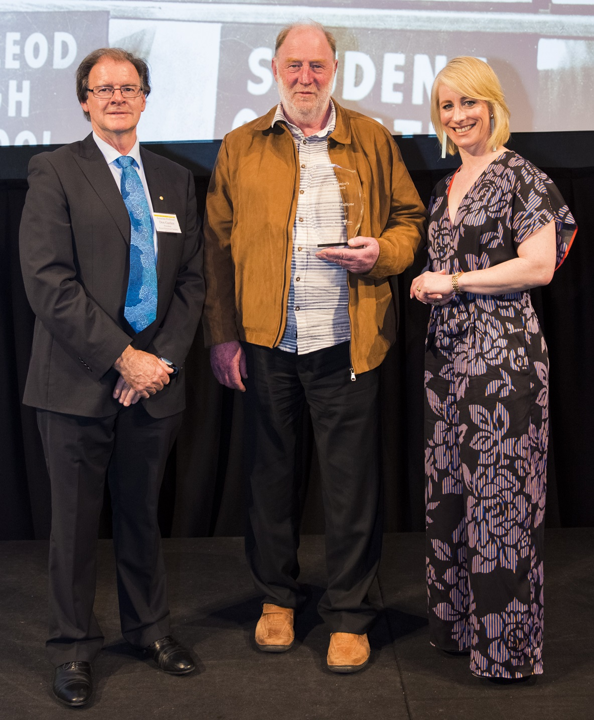 John Burch with Don Garden and Catherine Andrews at the 2017 Victorian Community History Awards