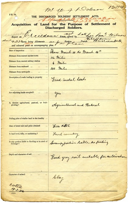 An example of the forms used by inspectors to assess the suitability of the land for soldier settlement, WJ Dobson