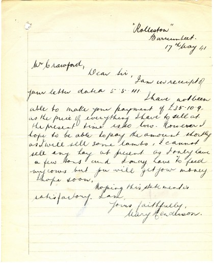 Mary Henderson, letter to Crawford, 17 May 1941