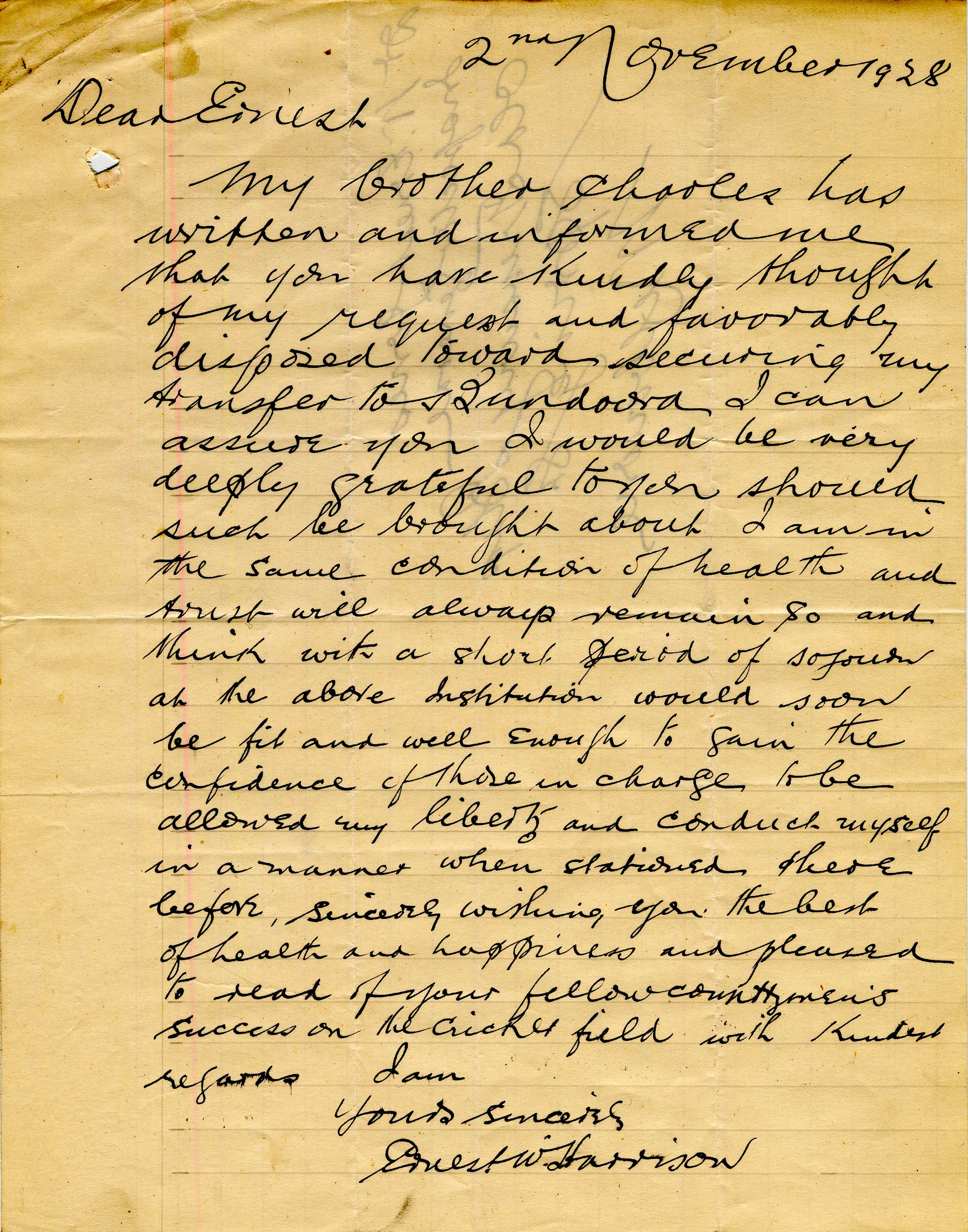 First page of letter from EW Harrison to Dr Jones