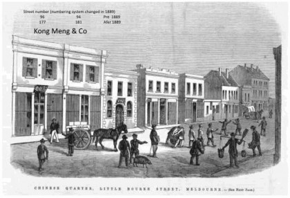 'Chinese Quarter, Little Bourke Street, Melbourne'. Wood engraving inThe Australian news for home readers, 21 October 1863. Digitised imagecourtesy of State Library of Victoria, Picture Collection – Accession No: IAN21/10/63/5, Image No: mp000693.