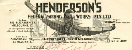 Letter from Henderson's Federal Spring Works, North Melbourne, dated 25 February 1947