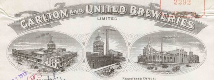 Letter from Carlton and United Breweries, Melbourne, dated 22 April 1913.