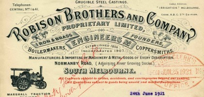 Letter from Robison Brothers and Company, Normanby Road, South Melbourne, dated 24 June 1921.