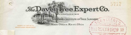 Letter from the Davey Tree Expert Company, Kent, Ohio, USA