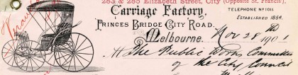 Letter from the Carriage Factory, Melbourne, dated 28 November 1901