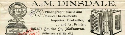 Letter from AM Dinsdale, Melbourne, dated 14 March 1910.