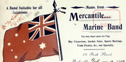 Letter from Mercantile Marine Band, Parkville, Victoria, dated 9 February 1910.