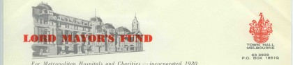 Letter from the Director/Secretary of the Lord Mayor's Fund, R Rhoades
