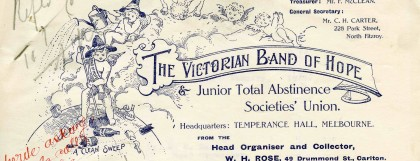 Letter from the Victorian Band of Hope & Juvenile Total Abstinence Societies Union, dated 12 January 1914