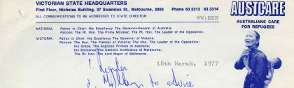 Letter from Wystan Widdows, Victorian State Director of Austcare, requesting permission to collect money on the city's streets for the Romanian earthquake relief fund, on 1 April 1977