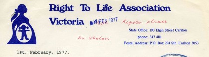 Letter from K Hudson, Right to Life Association Victoria, requesting permission to assemble in City Square on Right to Life Day, 27 March 1977.