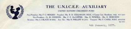 Letter from Estelle Collman, President of the UNICEF Auxilliary, detailing some issues with holding the annual UNICEF fundraising fair in the Lower Town Hall, dated 4 January 1977.