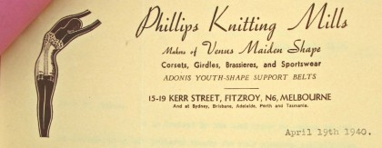 Letter from Phillips Knitting Mills, dated 19 April 1940.