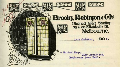 Letter from Brooks, Robinson & Co. Ltd, Melbourne, dated 14 October 1909.