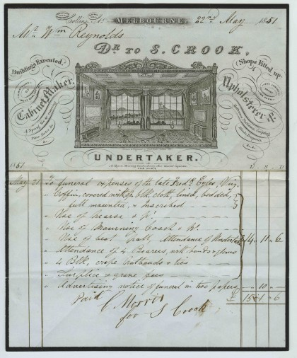 S Crook, cabinet-maker and undertaker, to William Reynolds for the funeral of Mr Frederick Gyles, dated 22 May 1851.