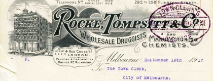 Letter from Rocke, Tompsitt & Company, Wholesale Druggists and Manufacturing Chemists, to the Town Clerk urging the establishment of public toilets on the corner of Flinders and Elizabeth Streets.
