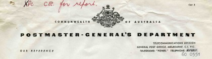 Postmaster-General's Department, Commonwealth of Australia, dated 25 September 1961.