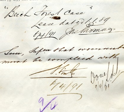 Detail of file note, N Wimble, 6 April 1891
