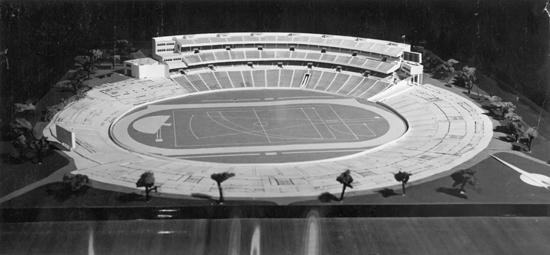 A photograph of the model made of the 'new grandstand' to be built for the Games