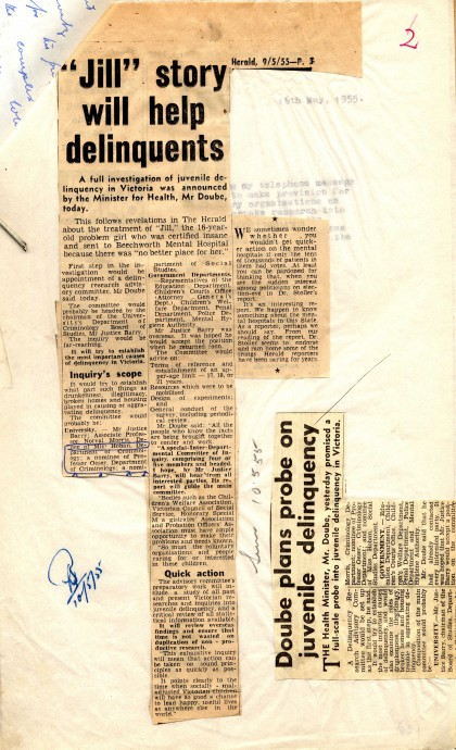 A page from the files relating to the Juvenile Delinquency Advisory Committee