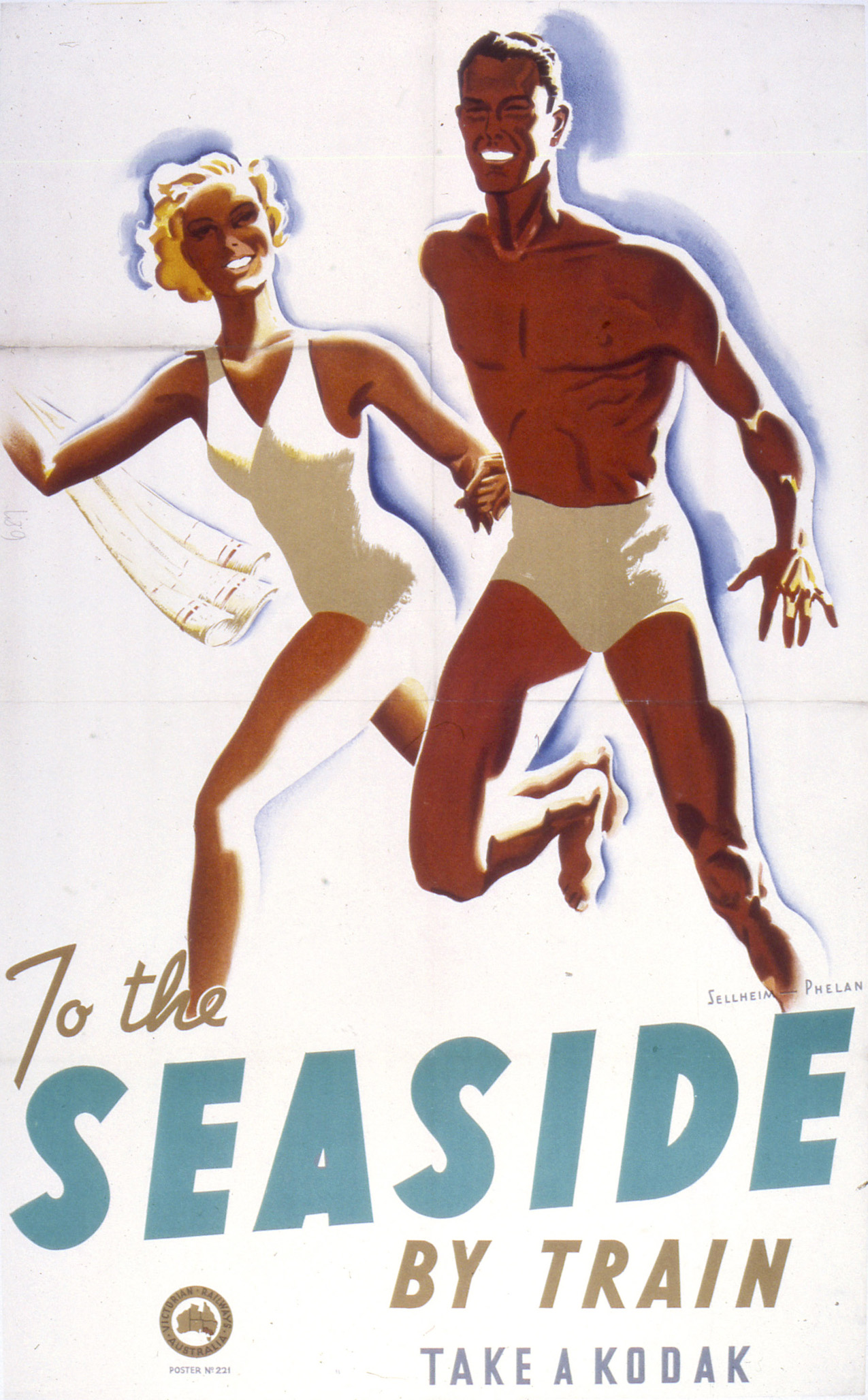 To the seaside by train poster by Gert Sellheim and Phelan