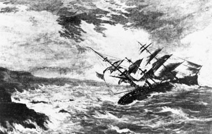 Image of a ship in a storm, bending to one side