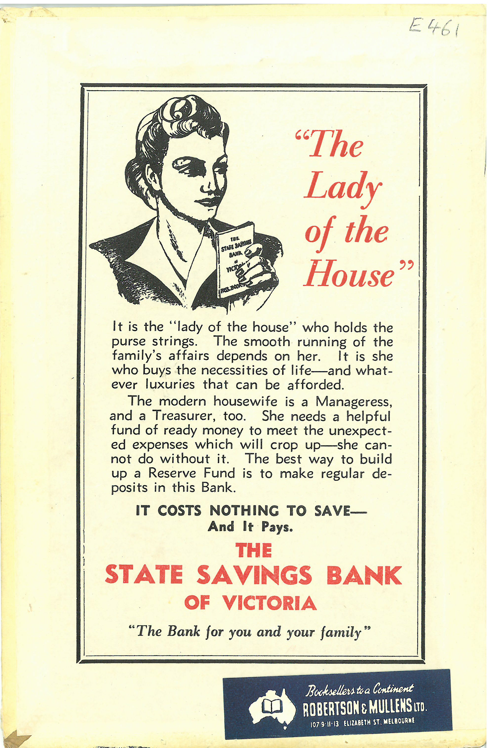 The back inside cover of the same book - including the State Savings Bank of Victoria' brand
