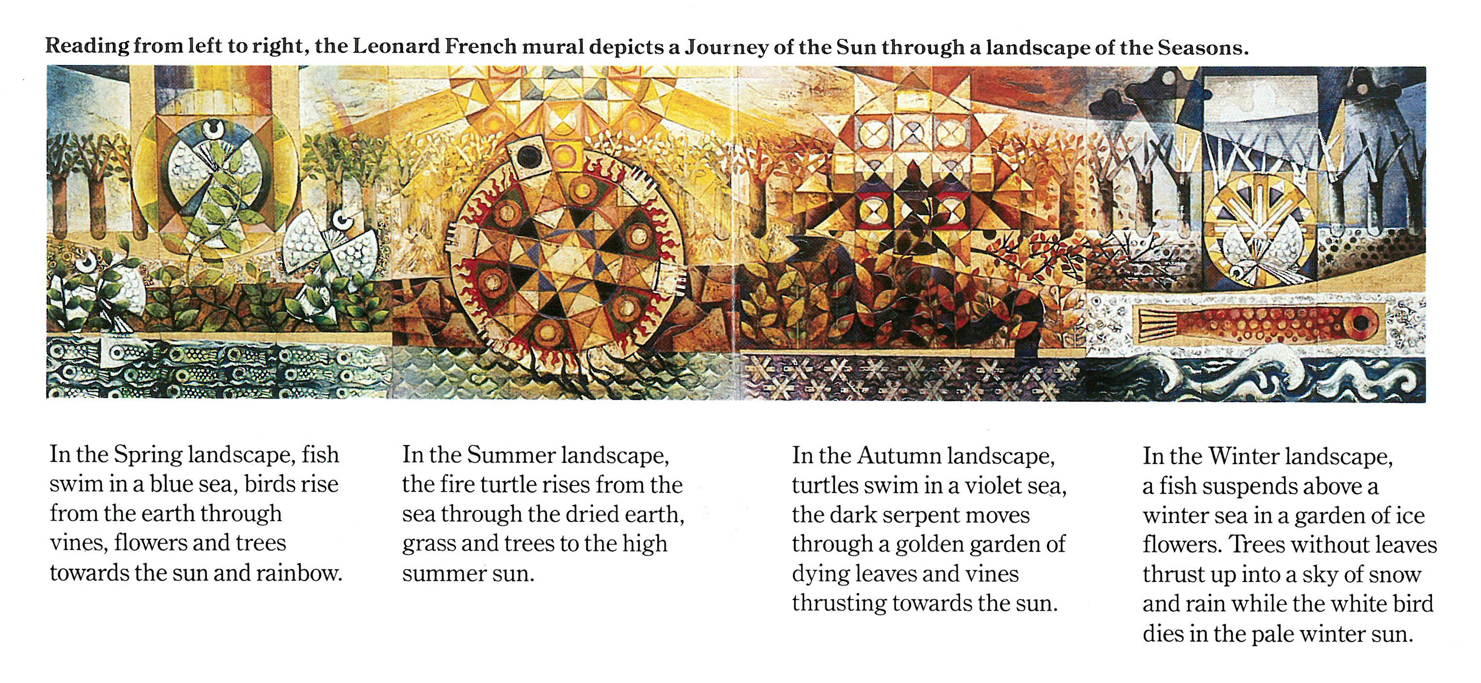 'Journey of the Sun' a mural by Leonard French commissioned for State Bank Centre. VPRS 08936 P1 Unit 248 Item E463.
