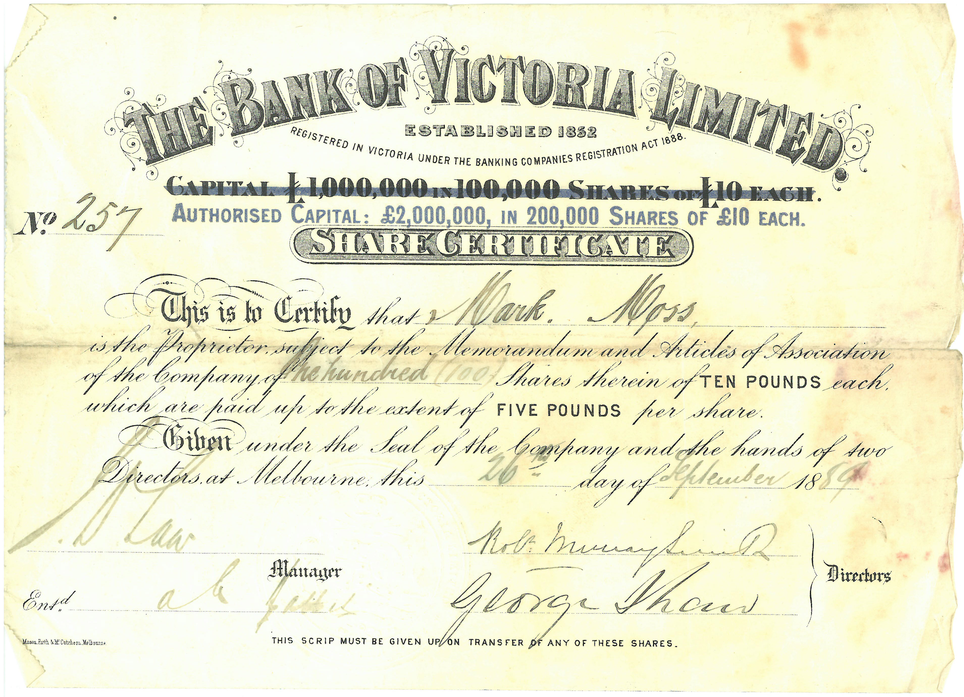 A share certificate from 1889