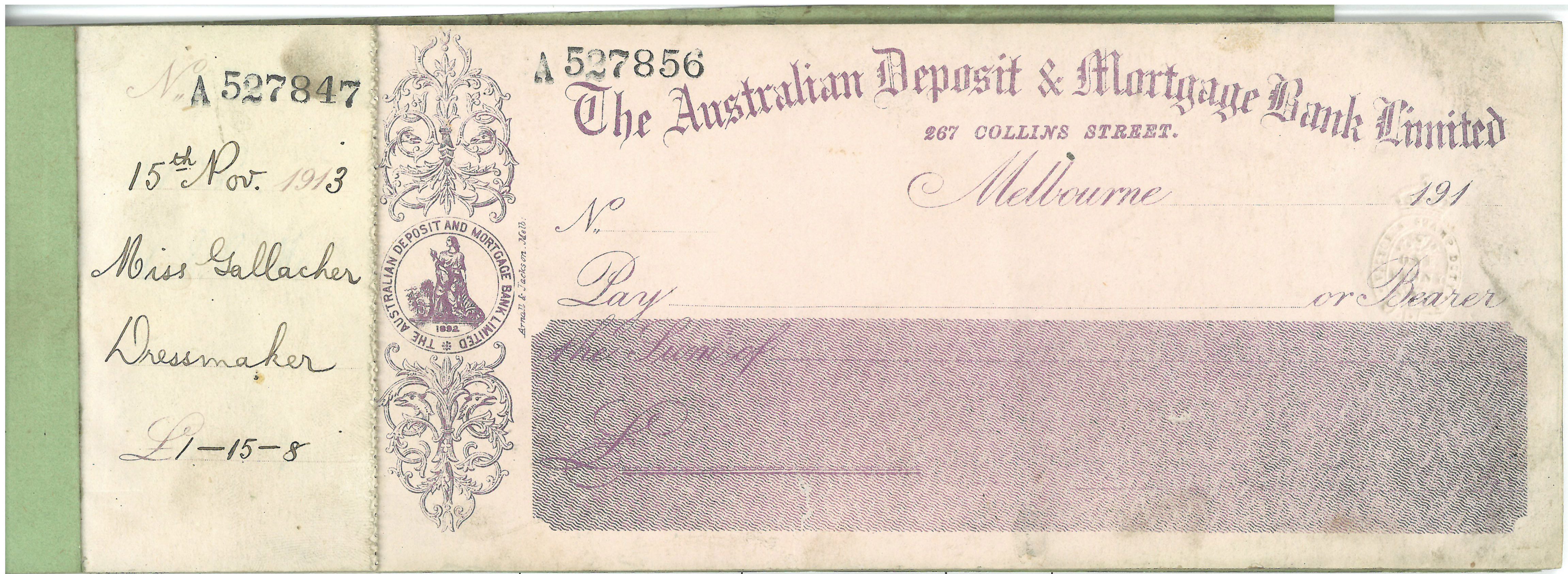 A cheque book from 1913