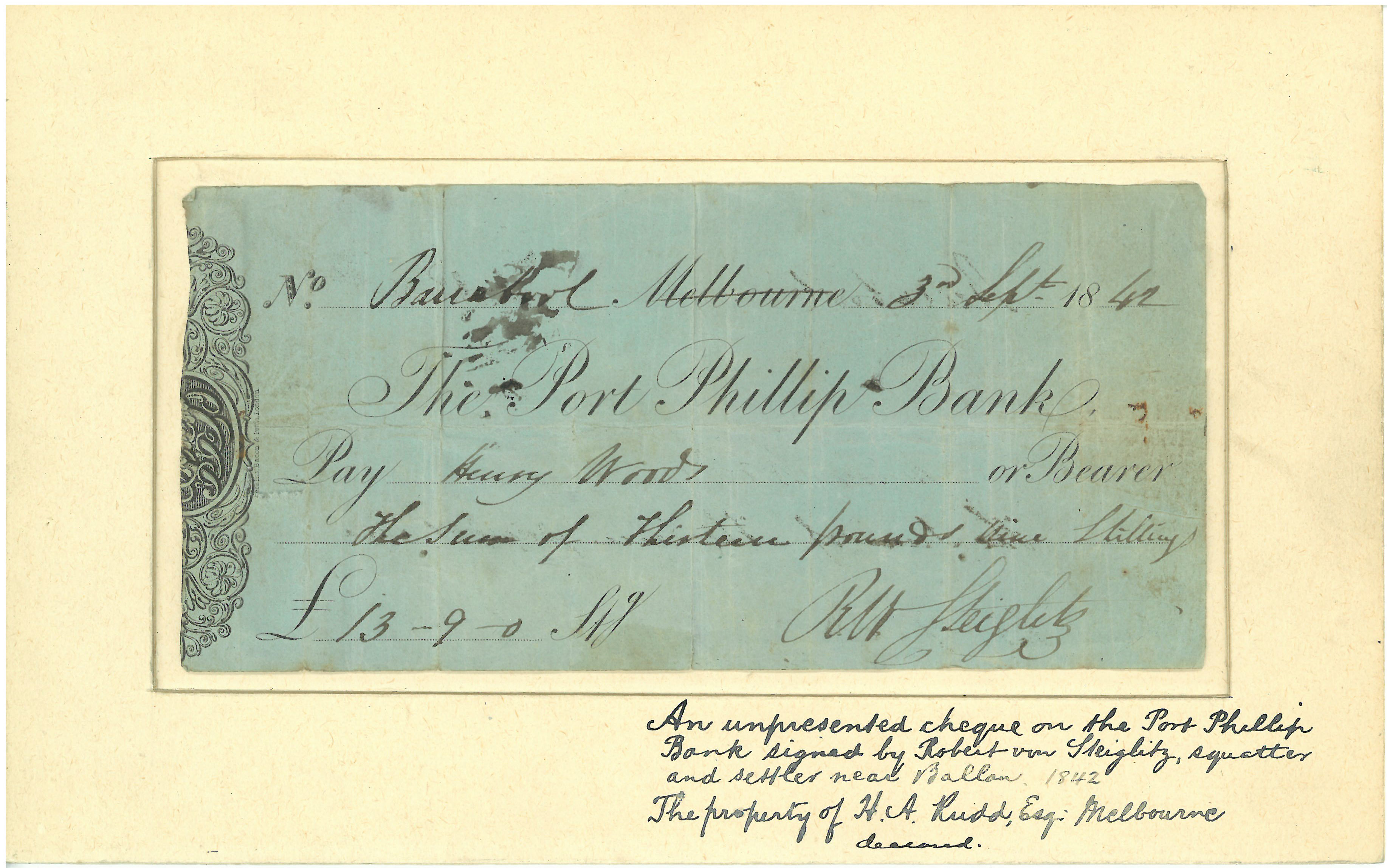 An unpresented Port Phillip Bank cheque dated 1842