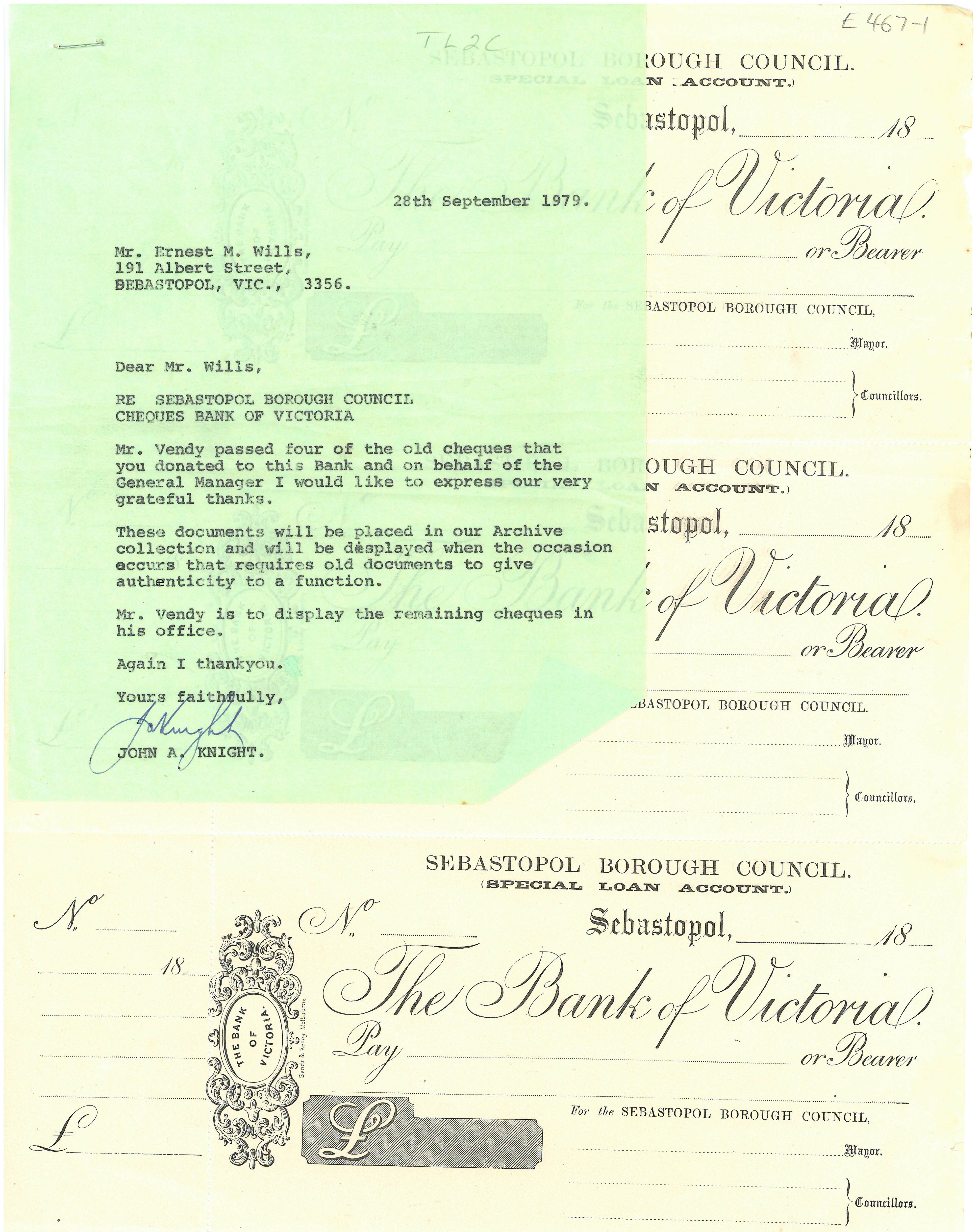 A series of cheques donated to the archive